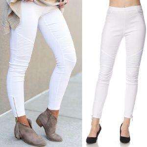 NWT White Moto Zip Leg Jeggings Pants S/M L/XL
